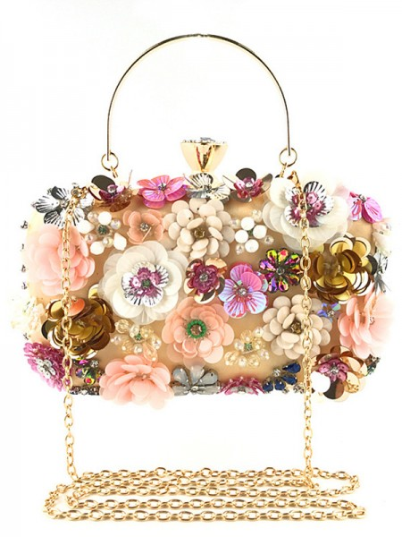 Mote Satin Evening/Casual Bags Med blomster
