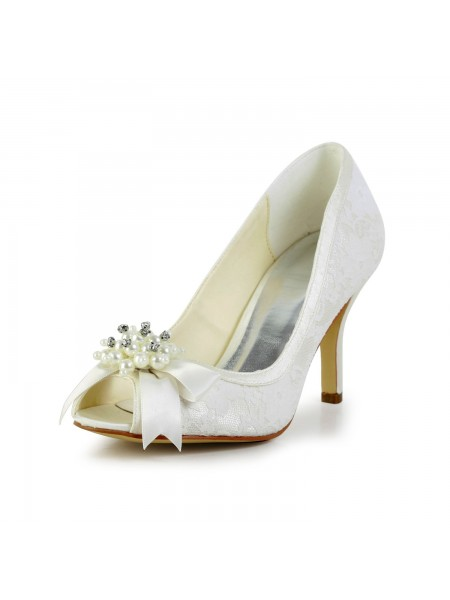 Kvinner's Satin Stiletto Heel Pumps med Imitation Pearl and Sløyfe Bryllupssko