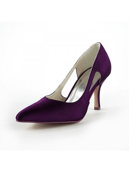 Kvinner's Satin Stiletto Heel Closed Toe Pumps Bryllupssko