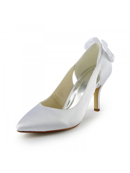 Kvinner's Satin Stiletto Heel Pumps med Hollow-out Bryllupssko
